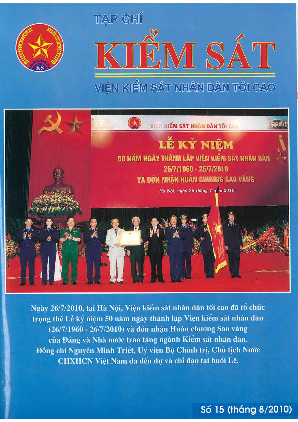 Mời quý vị và các bạn đọc Tạp chí Kiểm sát số 15/2010